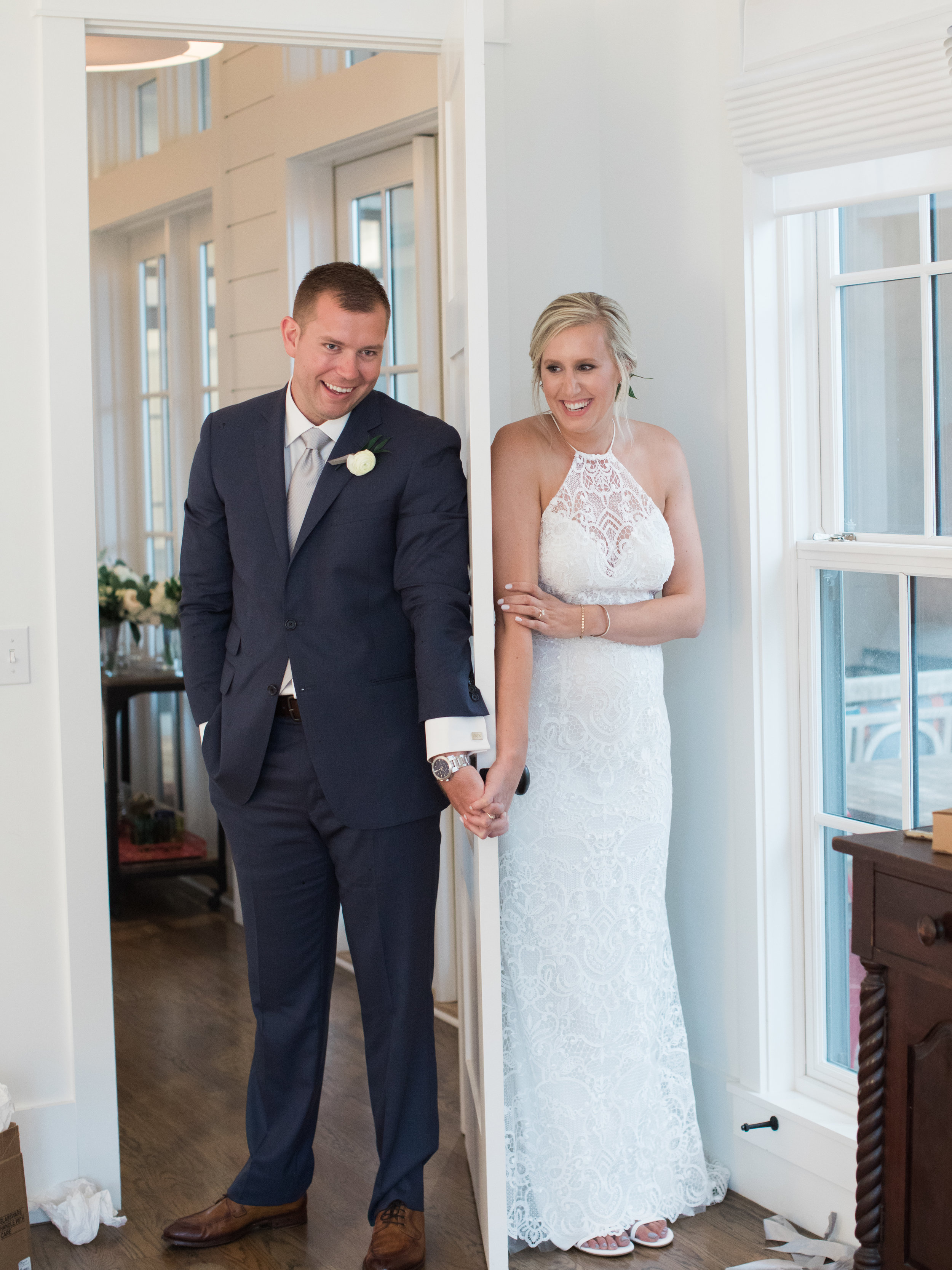Bride and Groom faux first look