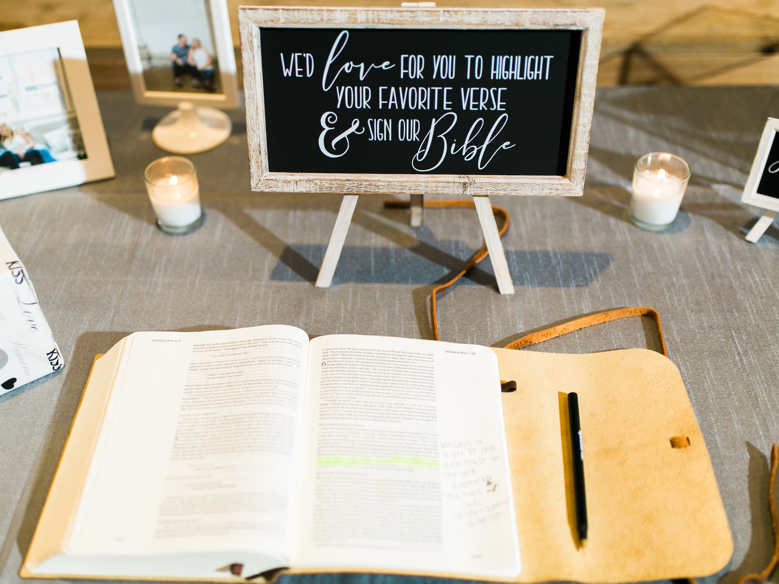 We chose to use a leather bound Bible as our guest book and it was one of the most special pieces from our day. It's been so much fun to look through the verses and notes left by all of our favorite people.