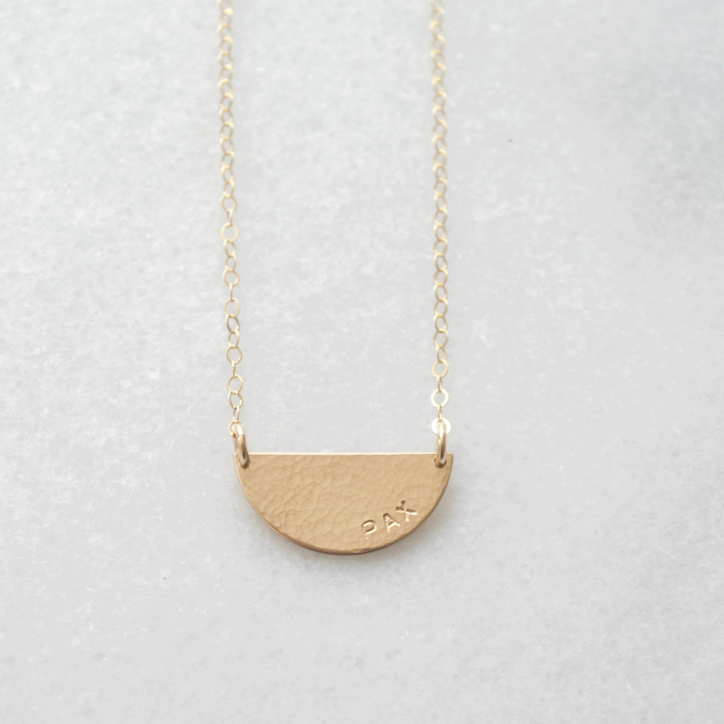 Hammered Half Moon Necklace