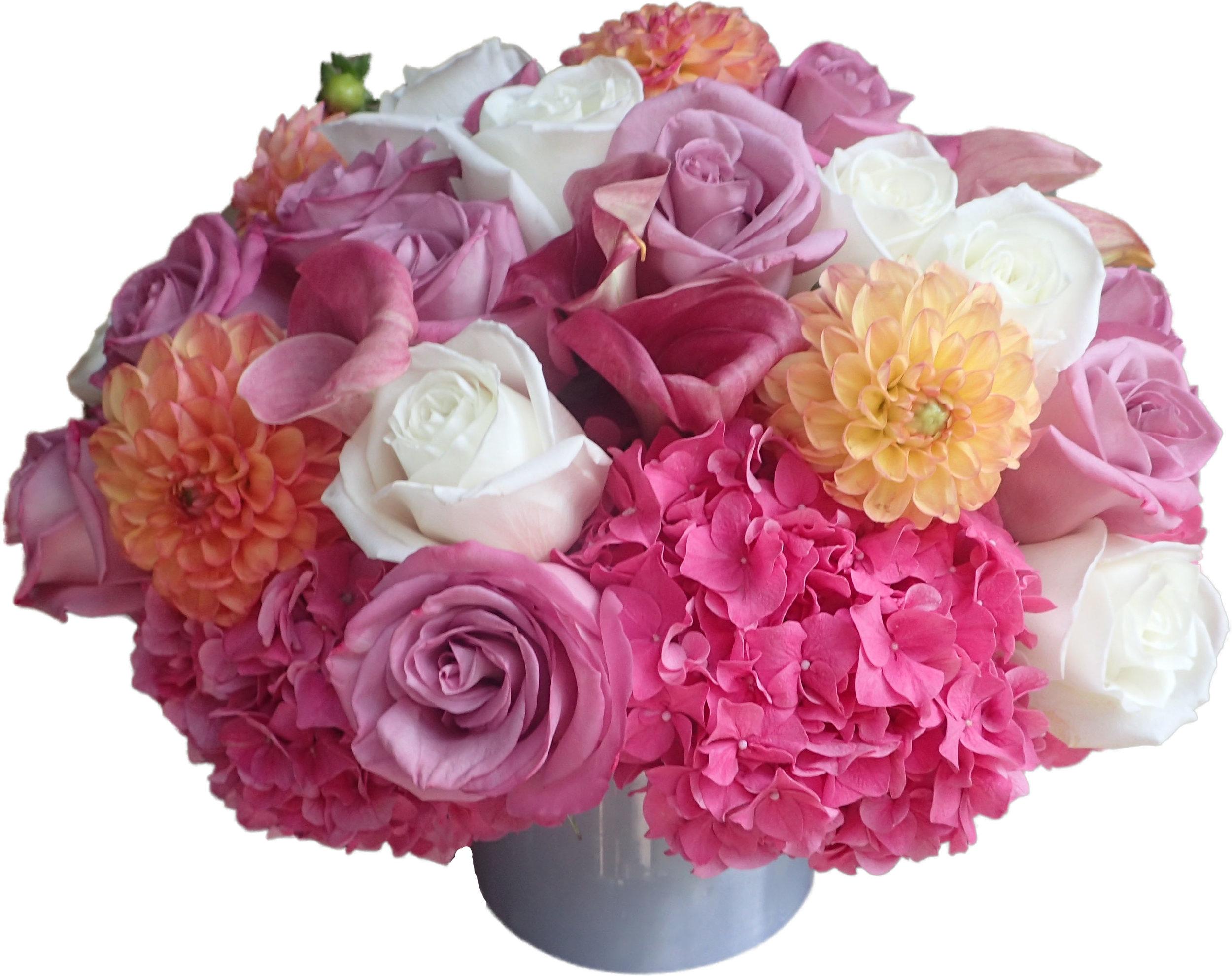 Pastel Rose, Dahlia, Hydrangea Mix starts at $250