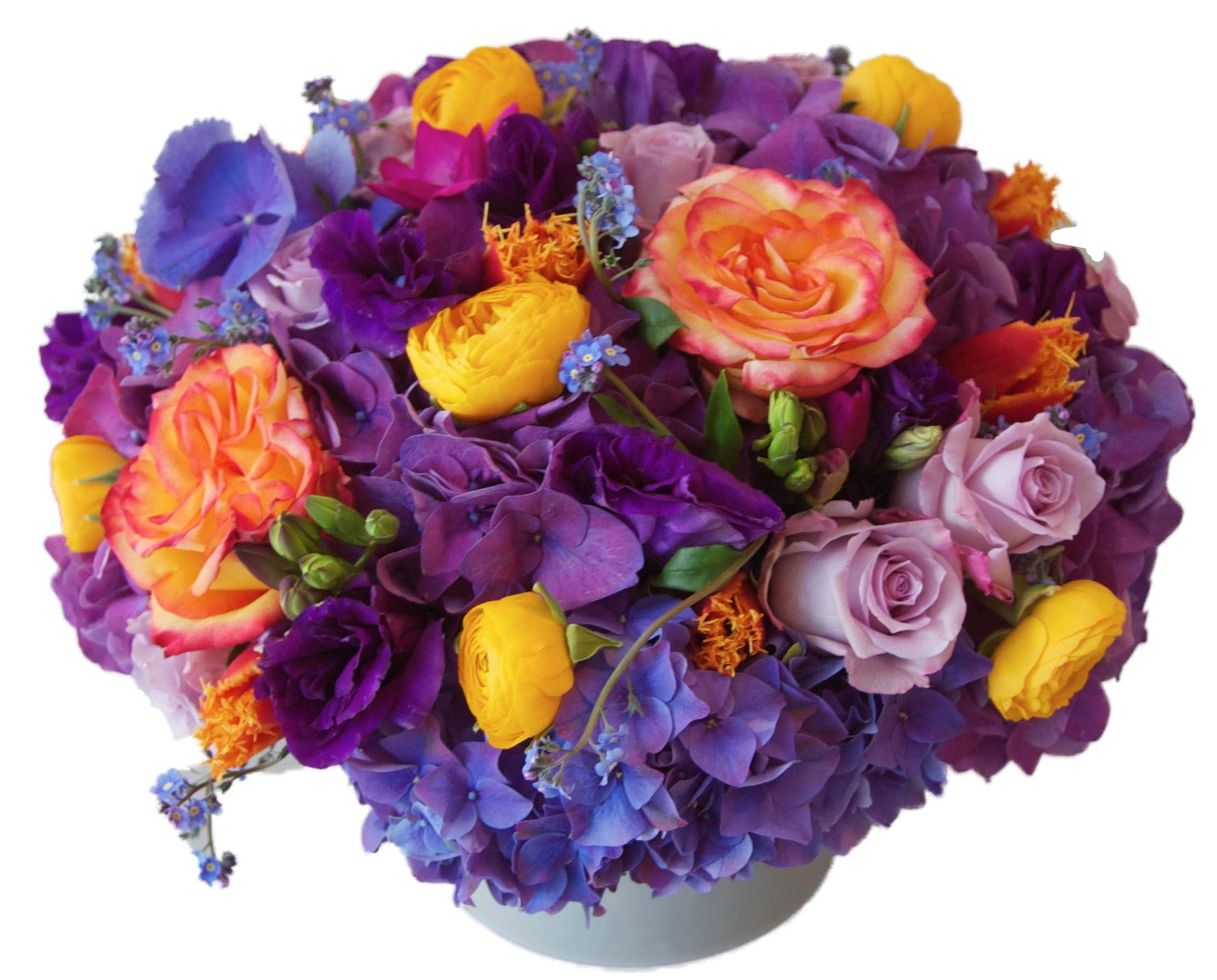 Purple Hydrangea with Oranges starts at $250