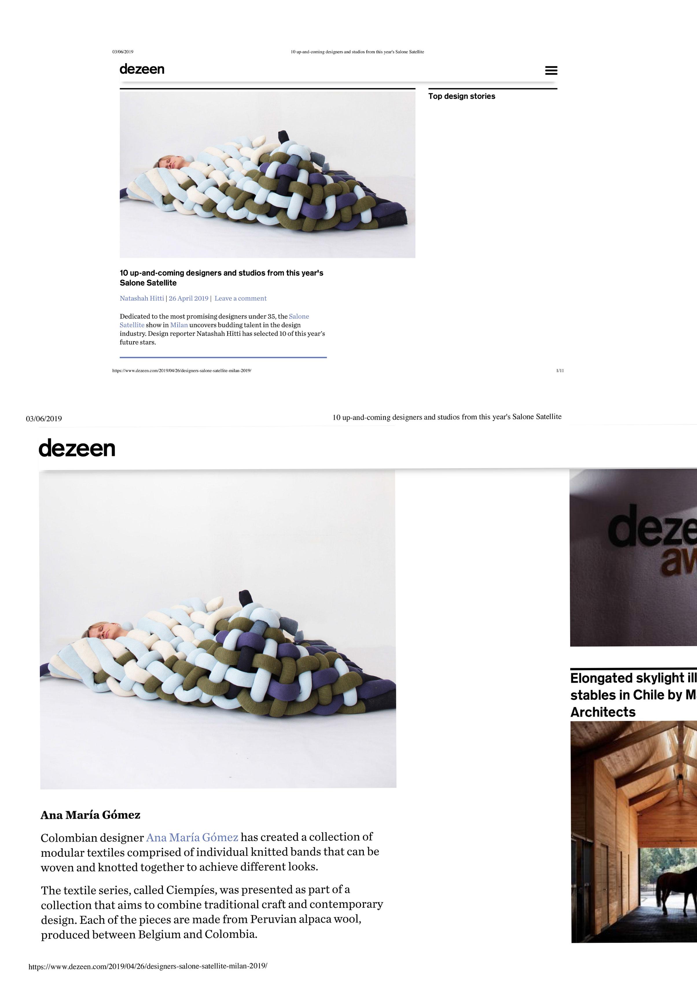 Dezeen, Salone Satellite 2019   dezeen.com/2019/04/26/designers-salone-satellite-milan-2019/