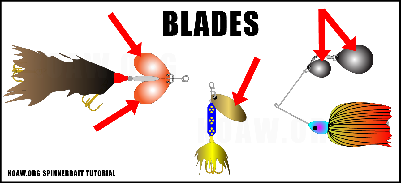 The red arrows point to the blades of these three spinnerbaits.
