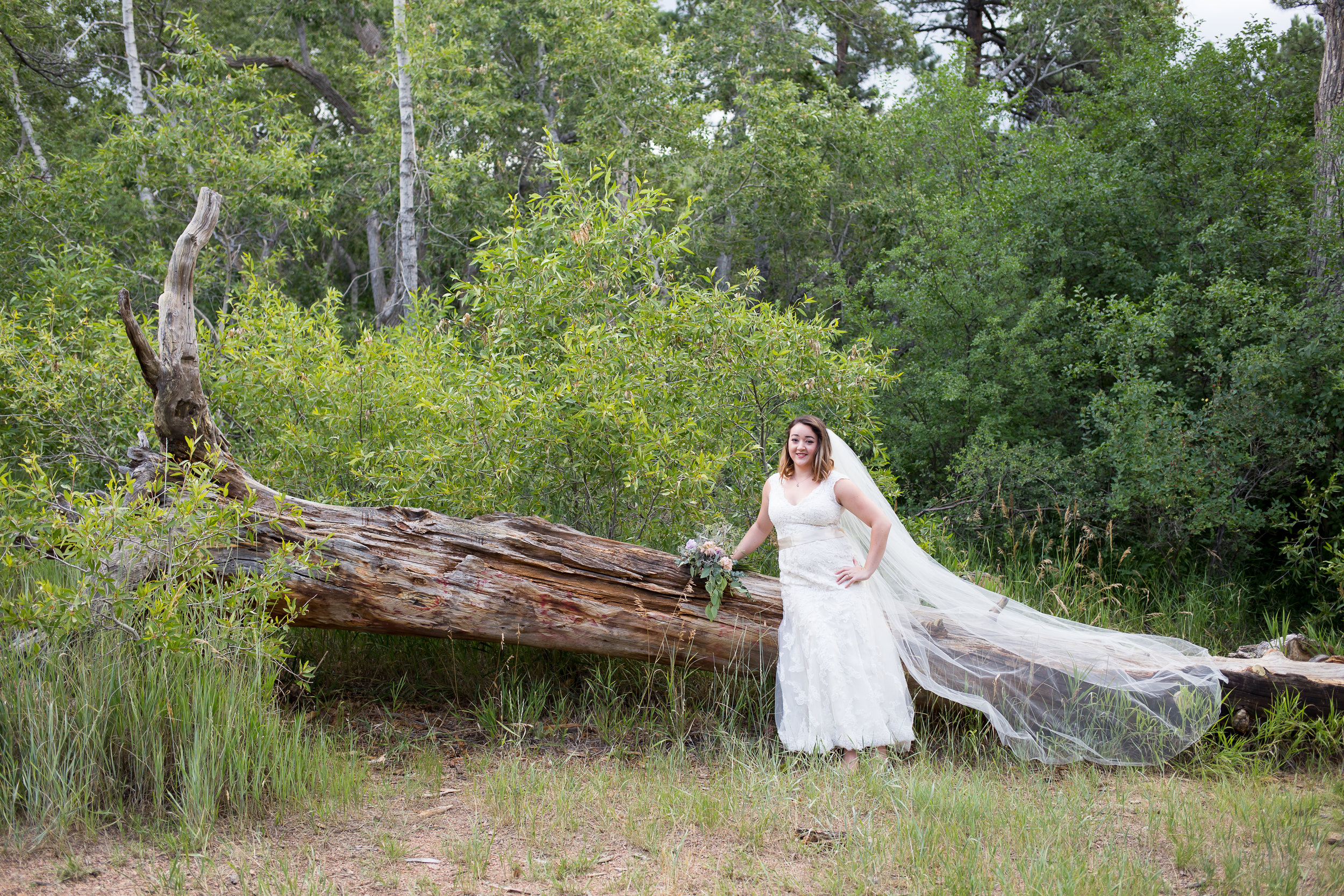 Colorado Bride Stacy Carosa Photography lace dress pastel flowers