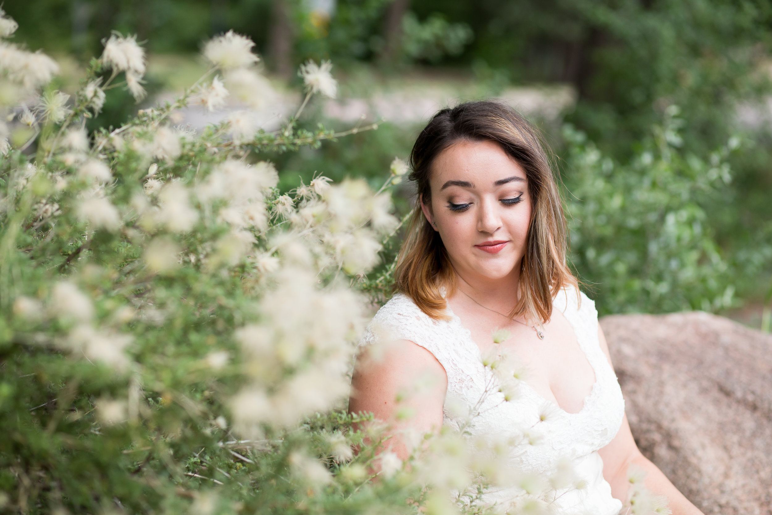 Colorado Bride Bridal Portraits Stacy Carosa Photography lace dress pastel flowers Cheyenne Canyon