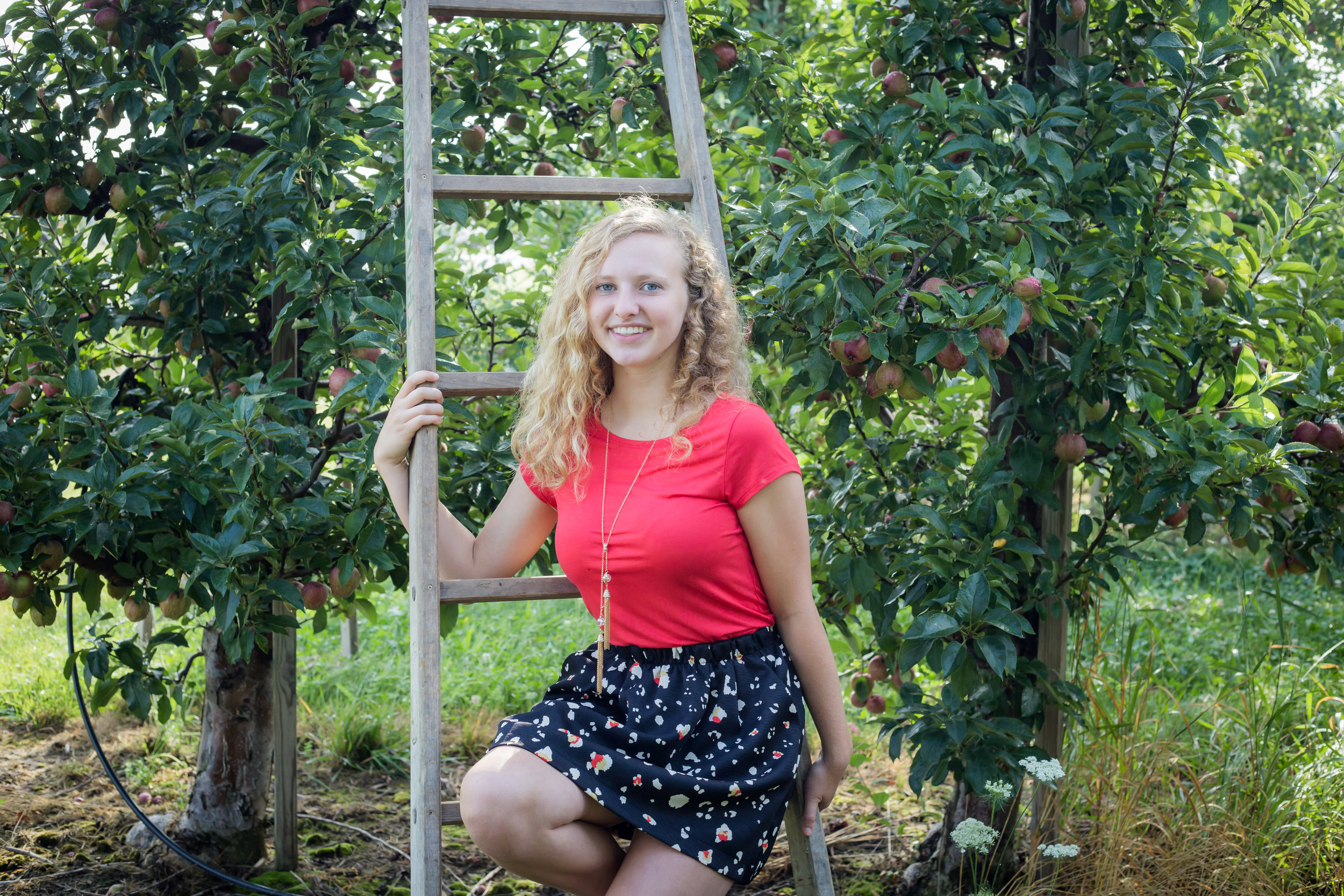 seniors photos in apple orchard sitting on ladder red top skirt