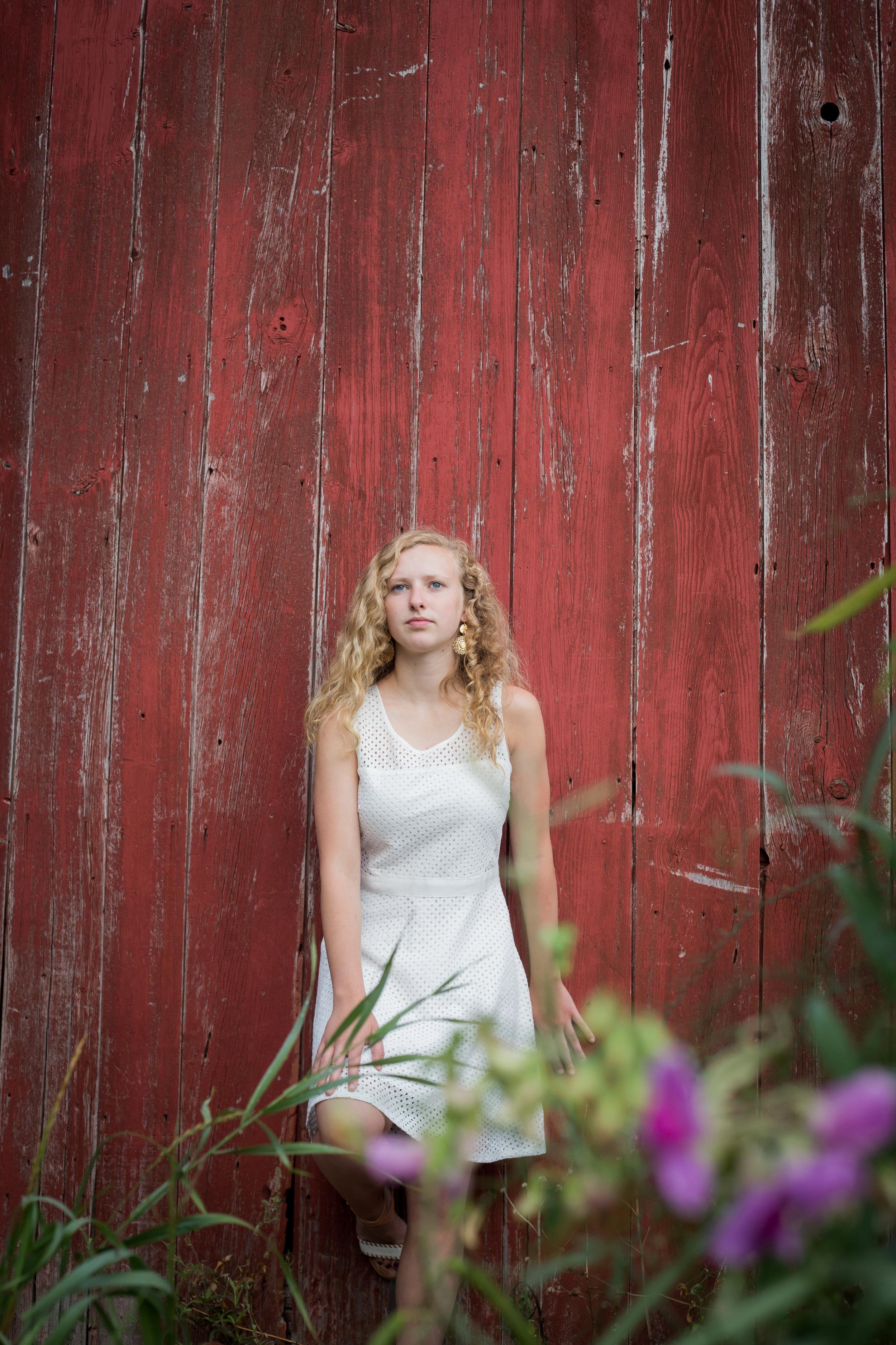 Sparta High School senior photos red barn country white dress