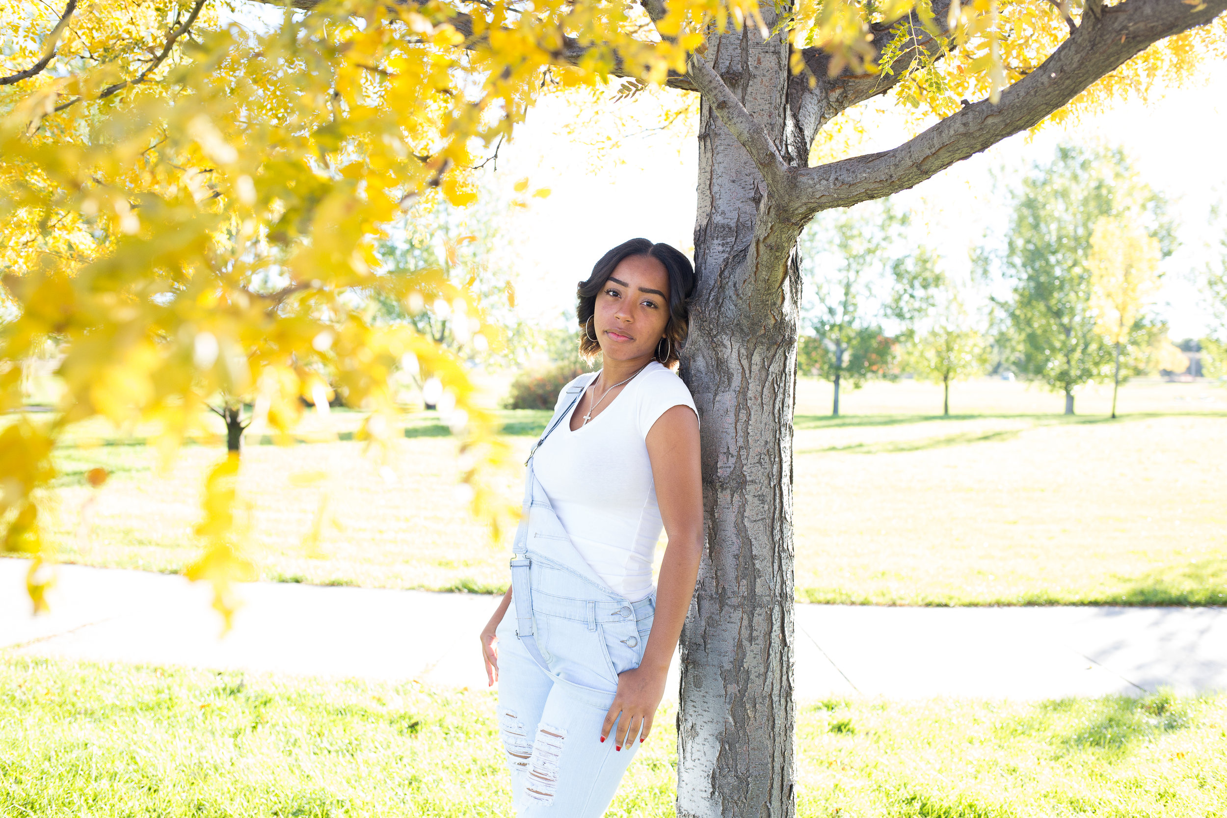 Girl leaning against tree with yellow leaves in the fall for her senior pictures at Fountain Creek Regional Park in Colorado Springs, CO. Stacy Carosa Photography