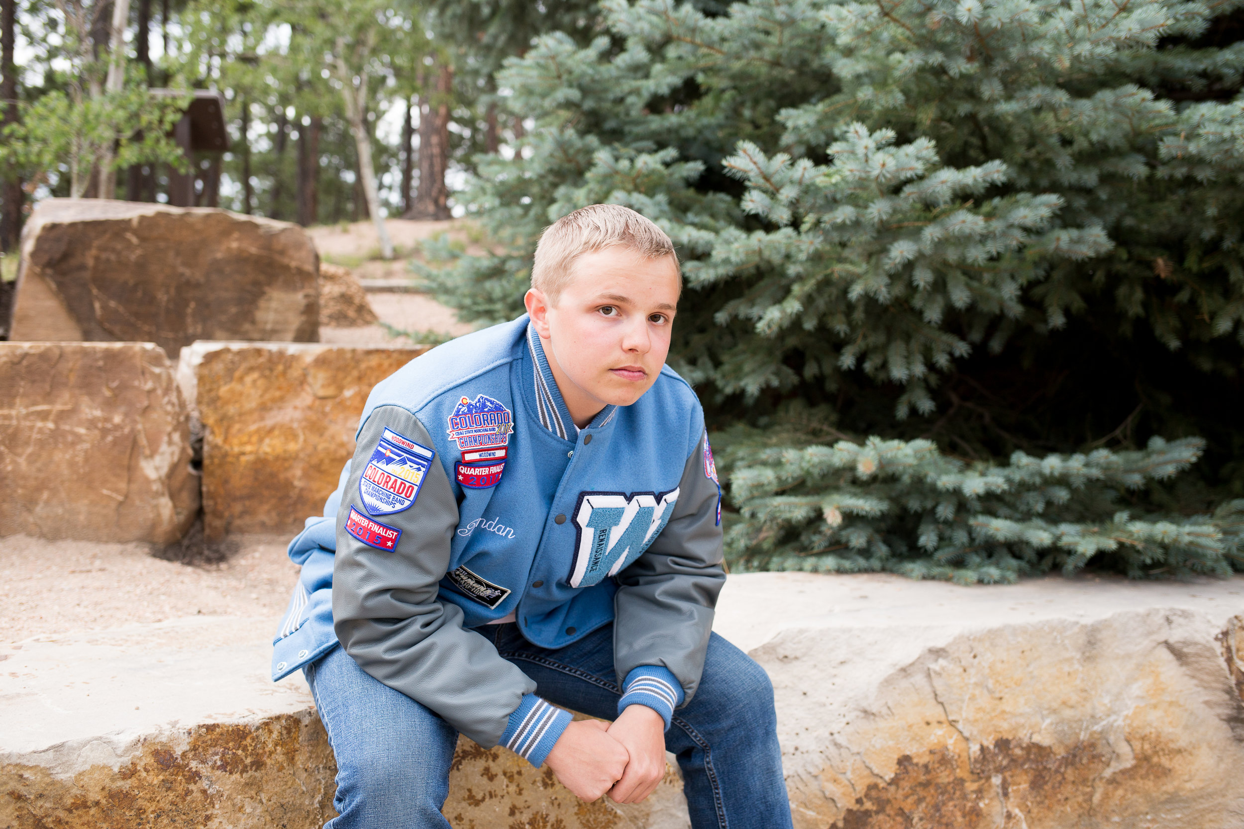 Colorado Springs Senior Photography | Stacy Carosa Photography | Colorado Springs senior photographer | senior session at Fox Run Park | Widefield high school senior varisty jacket band