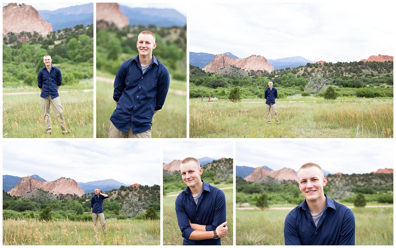 Colorado Springs Senior boy in Garden of the Gods smiling among the red rocks for senior session | Stacy Carosa Photography | Colorado Springs senior photography | senior photographer