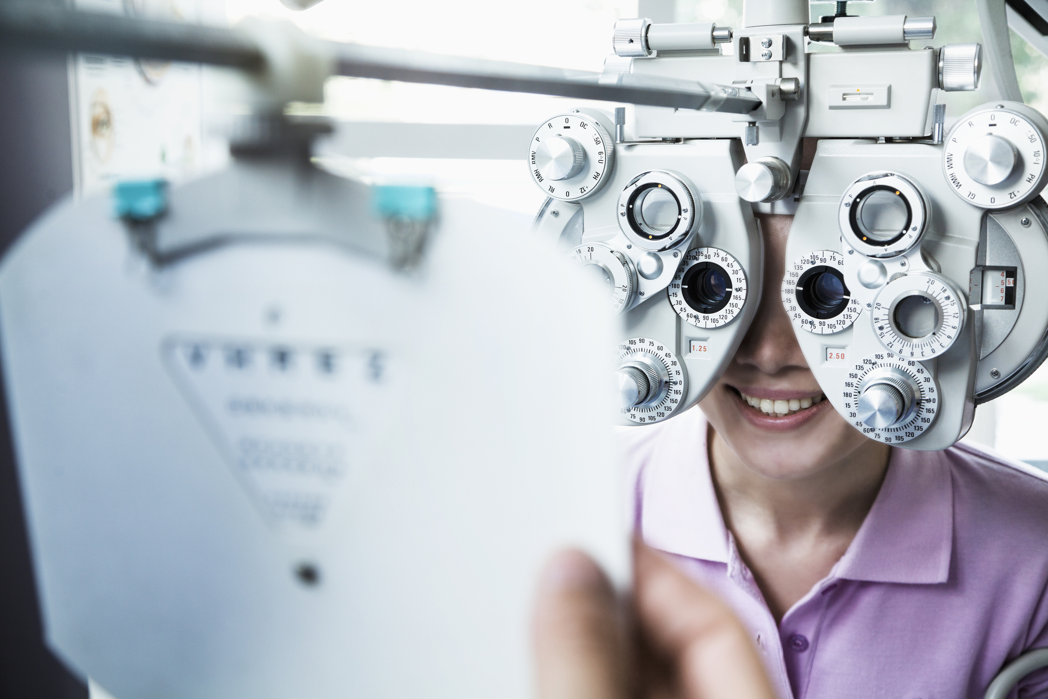 Checking the glasses prescription with an eye exam