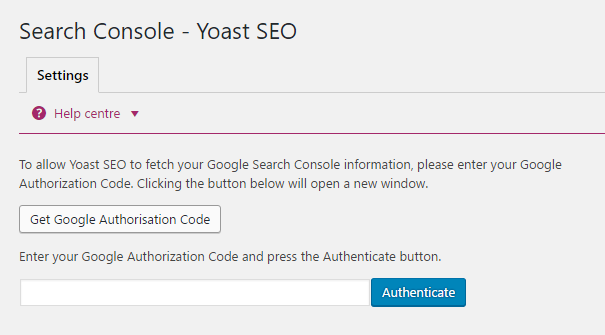 Link search console with yoast