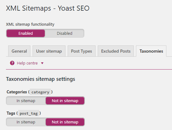 yoast xml sitemap options