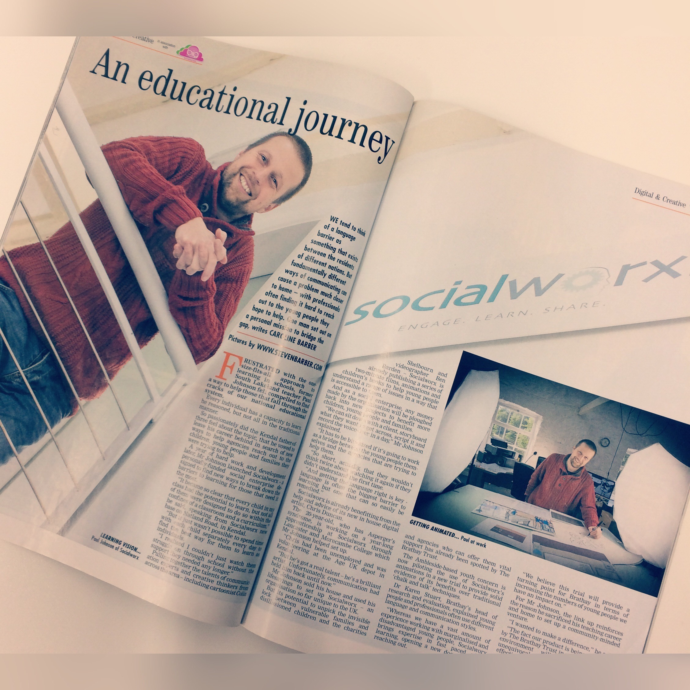Paul Johnson and Socialworx featured within the In-Cumbria magazine