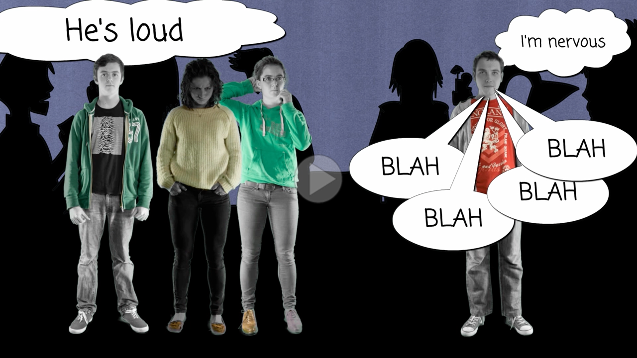 Screen shot of a photo story style animation aimed at young people