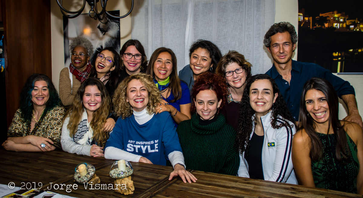 Our first meeting to read the script of the show, take a picture together and set musical rehearsal times. From left to right: Diana Purim, Sonia Santos, Natalia Spadini, Kanami, Mariana Leite, Ana Gazzola, Katia Moraes, Emina Shimanuki, Poliana Magalhães, Liz Kinnon, Ana Barreiro, Nando Duarte and Marcele Berger.