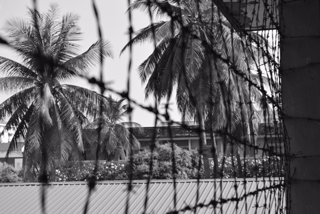 A view from the inside of Cambodia's Security Prison S-21, where 17,000-20,000 people were held and brutally tortured before being murdered at the Killing Fields.  The S-21 Prison is now the Tuol Sleng Genocide Museum, documenting the atrocities of the Khmer Rouge era (1975-1979).