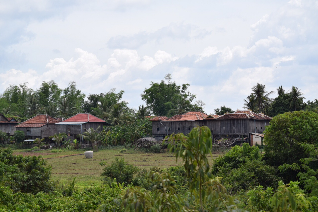A common sight in Cambodia -- a small village of homes on stilts.