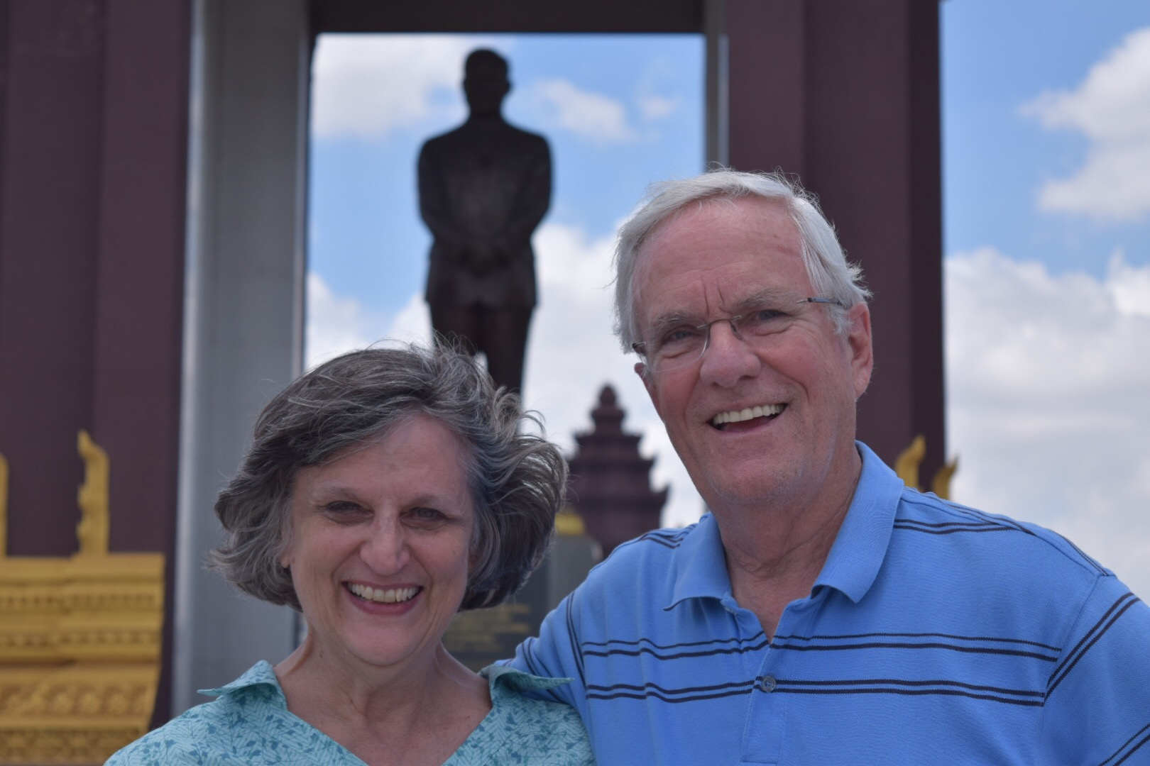 Independence Monument, King Norodom Sihanouk, and two happy grandparents.
