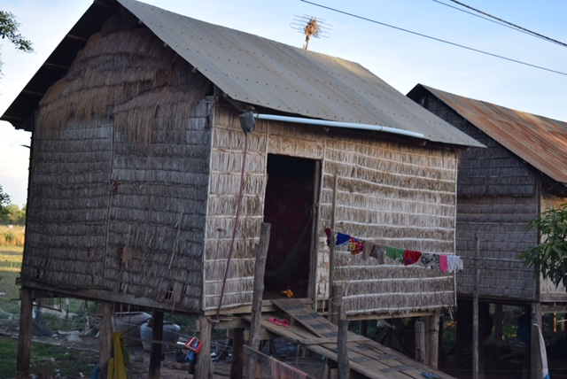 The countryside is filled with modest huts that are built on stilts, to avoid the flooding during monsoon season.