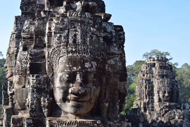 The Bayon Temple -- home to multiple towers with more than 200 mysterious stone faces dating back to the 12th century.