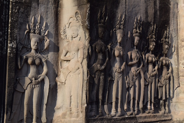 More than 3,000 apsaras (heavenly nymphs) are carved into the walls of Angkor Wat.
