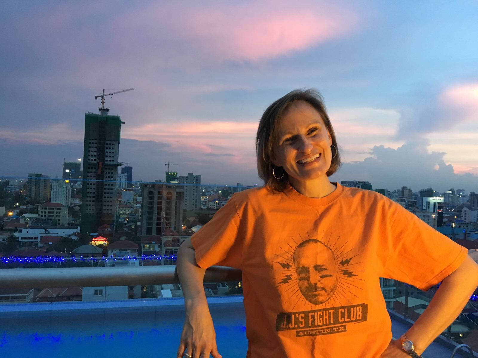 A Phnom Penh sunset, with our friend JJ Baskin