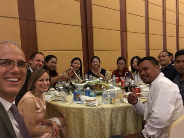 Wedding reception with our team, Cambodia style!