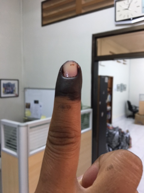 """The Cambodian version of an """"I voted"""" sticker."""