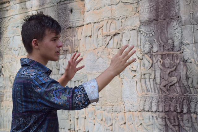 Ben gives an impromptu lecture/stand-up routine about the meaning of the bas-relief carvings on the walls of Bayon Temple. The next time you see Ben, please ask him about the legend of the Jawless King.