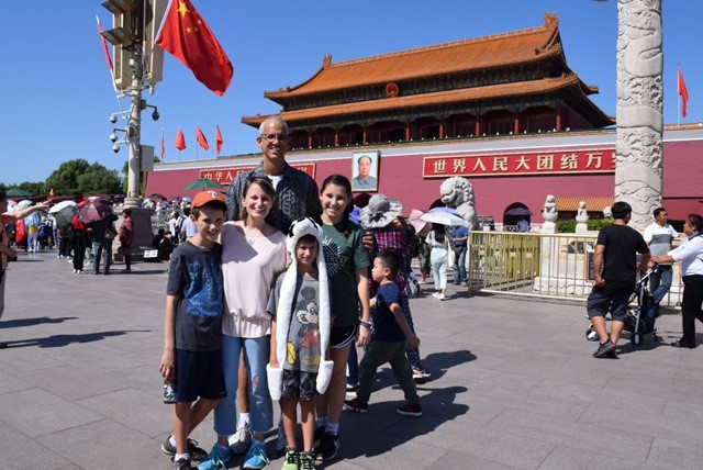 "At the north ""gate"" of Tiananmen Square -- the ""Gate of Heavenly Peace."""