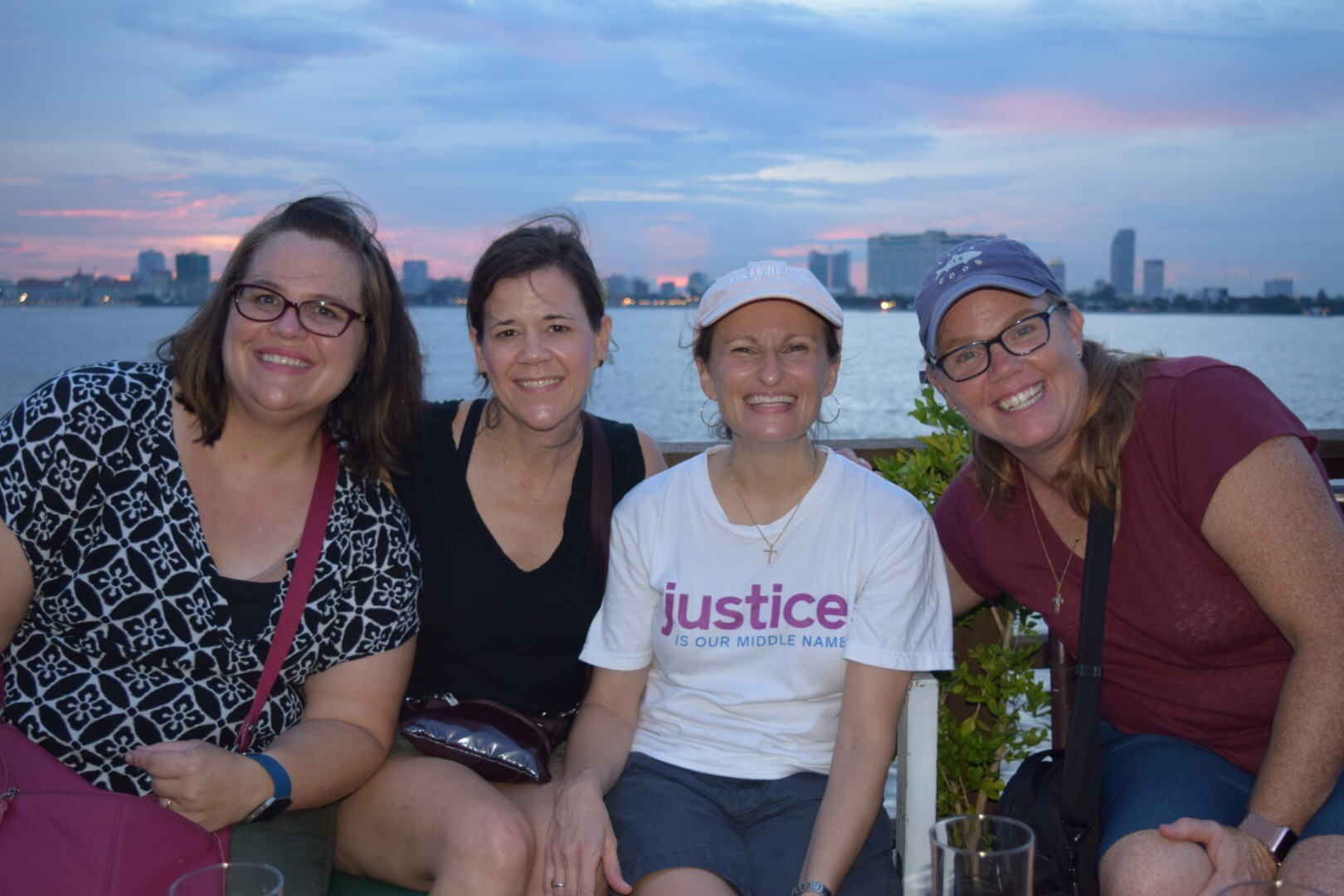 Jennifer, Ashley, Thais, and Meredith on a Mekong River sunset cruise.