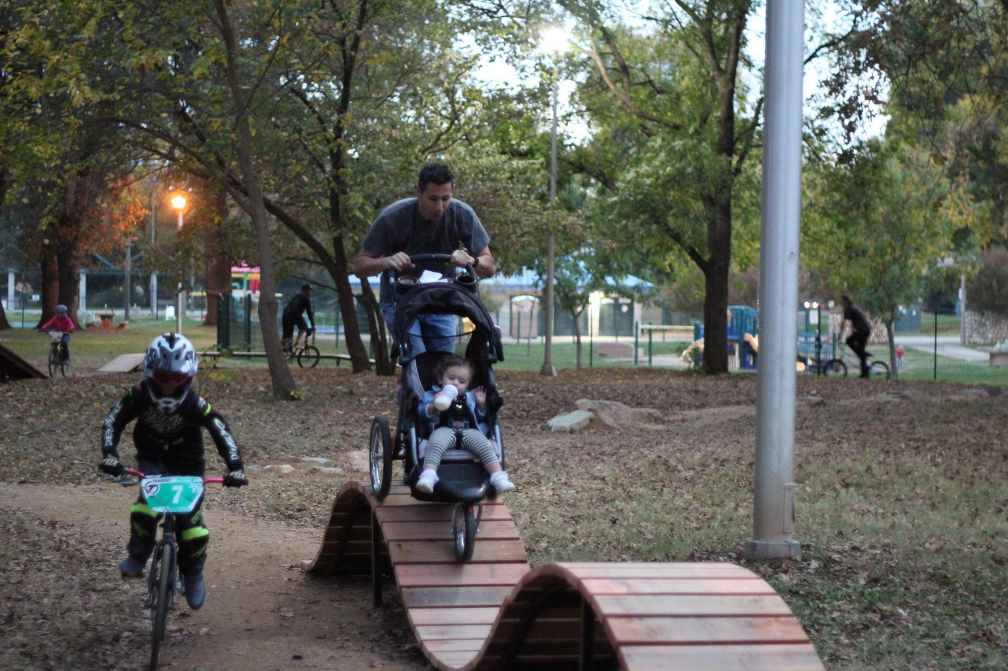 Redding Trail Alliance board member Mike Ruffell was creative in his use of the parks features.