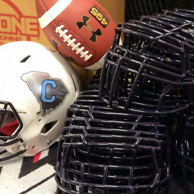 We've got the cadets from The Citadel ready for another season! Thanks to our friends @citadelsports for once again, hear after year, entrusting us to keep the Bulldogs looking good but more importantly, safe! These NOCSAE recertified masks will surely do the trick! #socon #citadel #redzonereconditioning