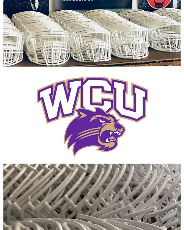 Thank you Mike Taylor for sending us your masks. We always enjoy seeing them restored to their original white condition. We wish you guys nothing but the best this upcoming football season. @wcu_catamounts