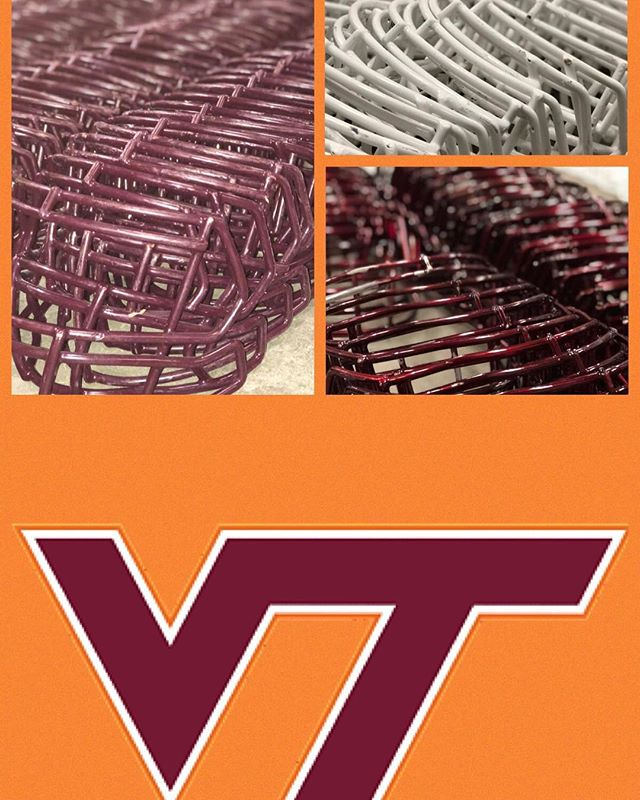 """The #Hokies face masks have arrived in the warehouse and the reconditioning process has begun. Soon, we'll be sending this three color order back to @VTEquipment """"brand new"""" and NOCSAE recertified. Thanks Jason for continuing the relationship- CONGRATS on the new position!"""