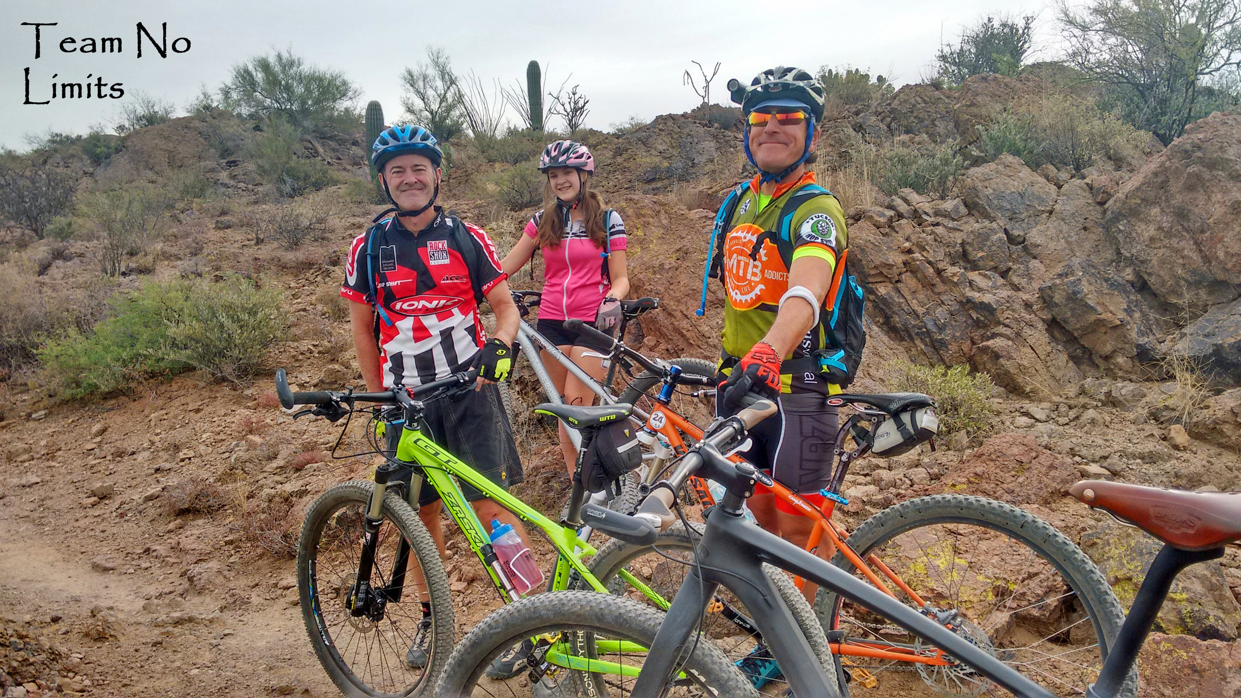 Well, most of the team. Me on the L, Olivia Rasmussen and Kent Loganbill. Photo by Todd Rasmussen. Off skiing, Billy Joe Donnelly. Training on the Sweetwater Trail (Tucson Mountains).