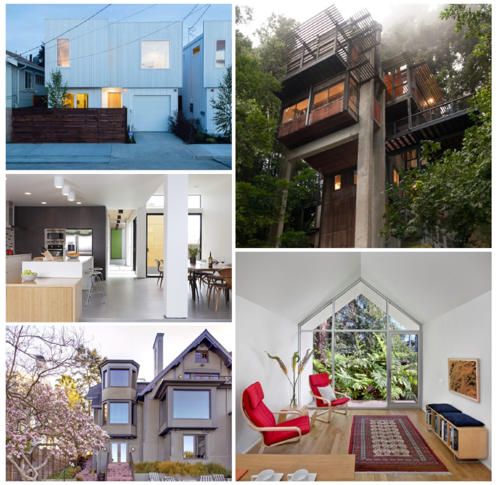 Project credits, clockwise from top left: Baran Studio Architecture; Joseph Esherick with Andrew Lee Architecture, Turnbull Griffin Haesloop Architects, John Galen Howard with WA Design, Swatt I Miers Architects.)   Photo Courtesy of AIA East Bay