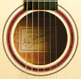 Soundhole inlay done in Cocobolo