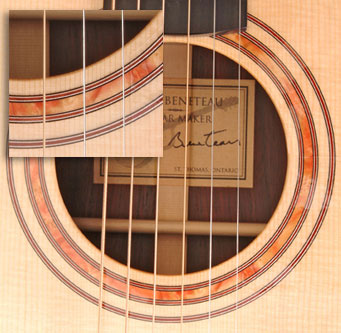 Soundhole inlay done in Box Elder Burl