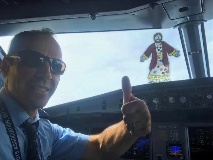 With Mike Lauro in the cockpit of a 737