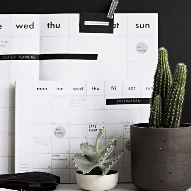 Two sizes. Many many uses. Our monthly planner. . . . #planner #plan #monthlyplanner #planneraddict #calendar #journal #journaling #monochromatic #blackandwhite