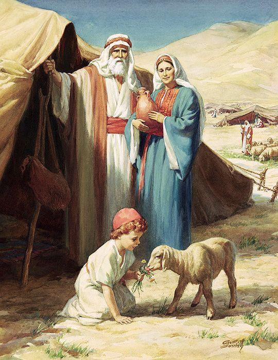 Abraham, Sarah, and their son Isaac