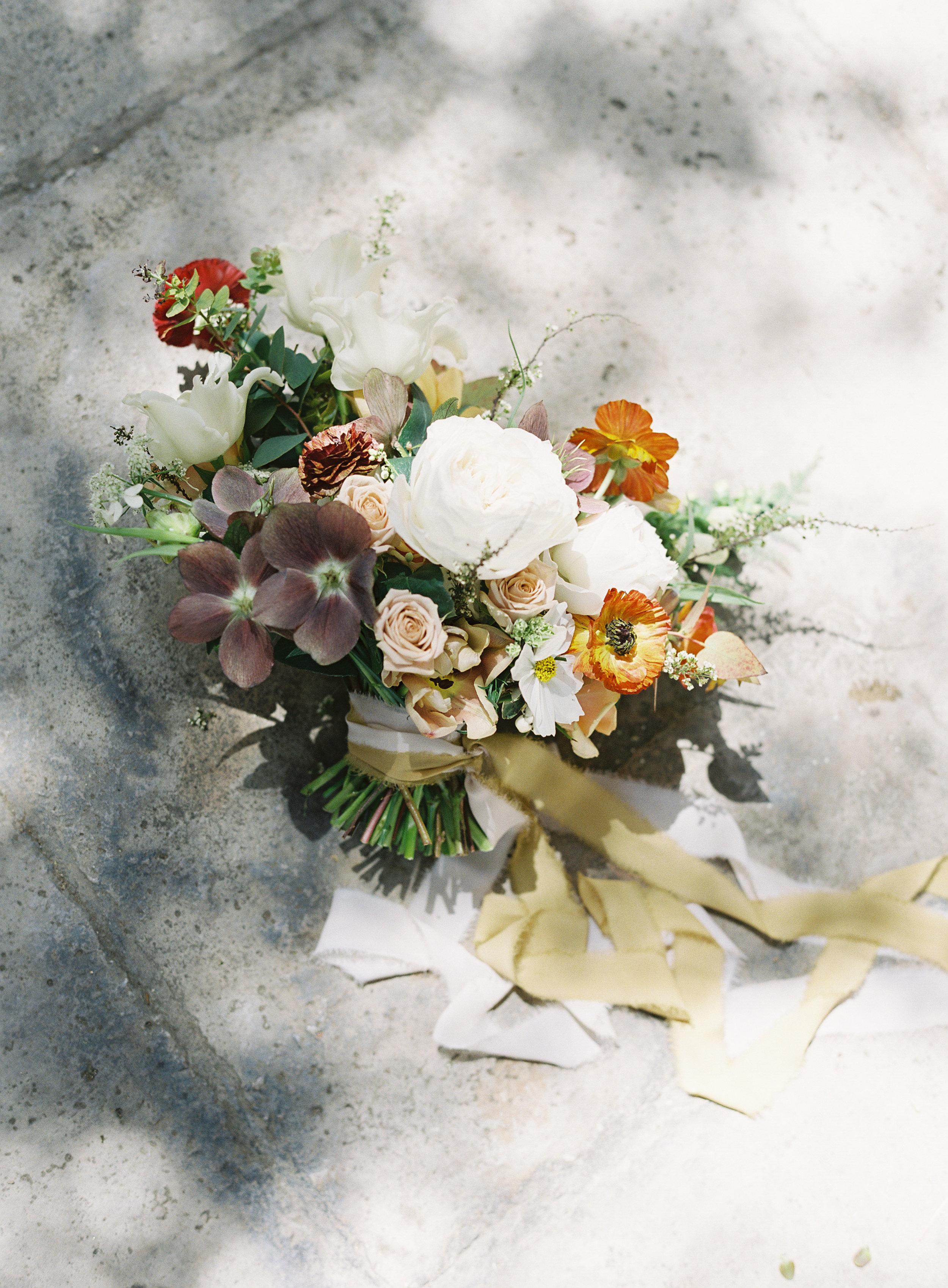 California Wedding Inspiration Fine Art Flowers Modern Romantic Finding Flora florist Sara Weir Bridal Bouquet Organic Silk Ribbon Magnolia Rouge