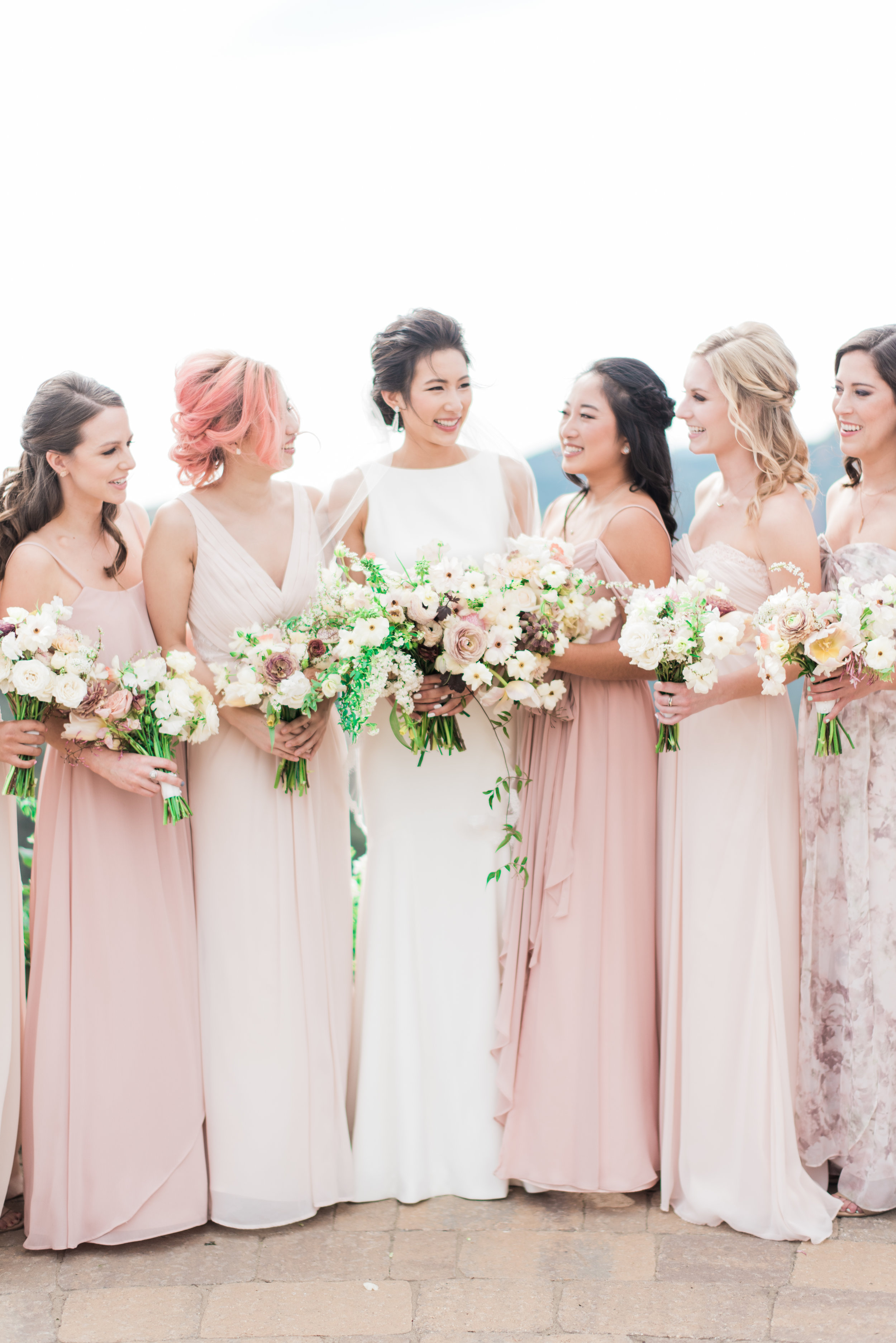 Spring Wedding at Romantic Hilltop Vineyard Malibu Rocky Oaks Sally Pinera Finding Flora Bridesmaids Bouquets Bridal Bouquets So Happi Together