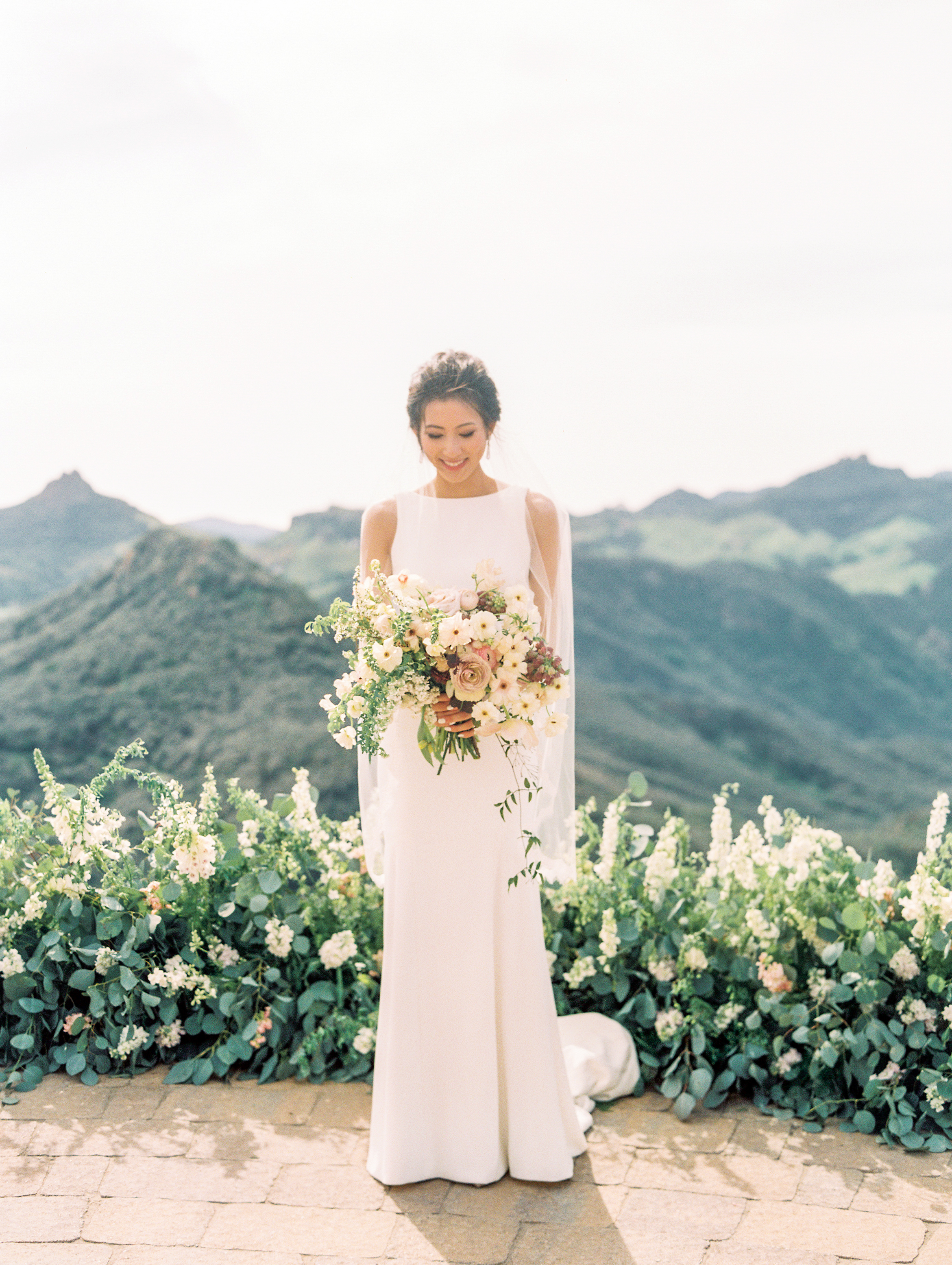 Spring Wedding at Romantic Hilltop Vineyard Malibu Rocky Oaks Sally Pinera Finding Flora Bridal Bouquet Ceremony Circle Install So Happi Together