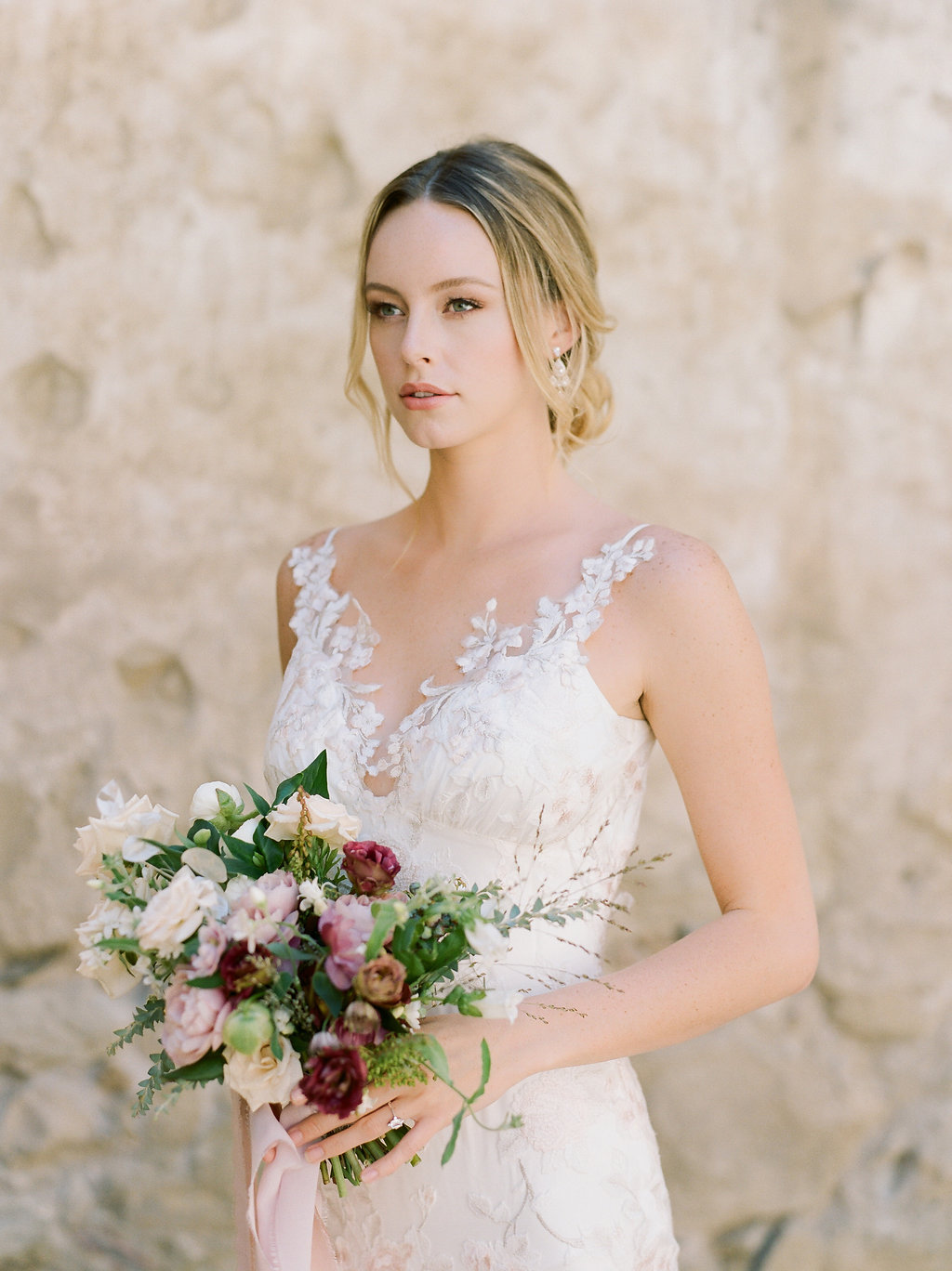Spanish Mission Style Wedding Ideas Bridal Bouquet Summer Flowers Finding Flora Wedding Sparrow Fine Art Claire Pettibone San Juan Capistrano