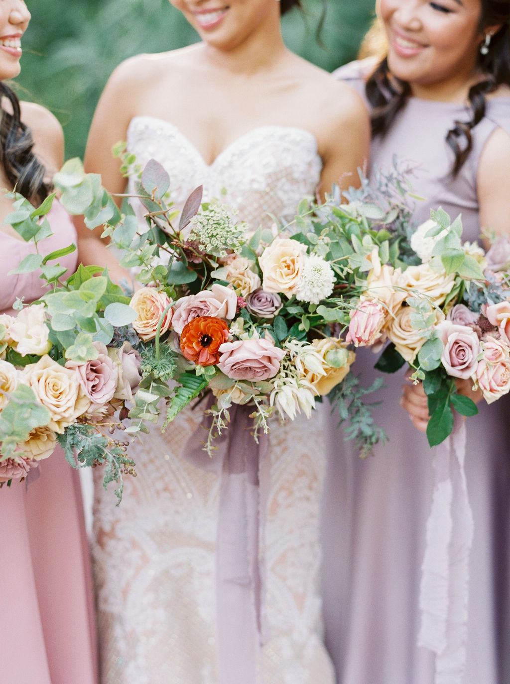 Lush, Organic Bridal Party Flowers by Finding Flora
