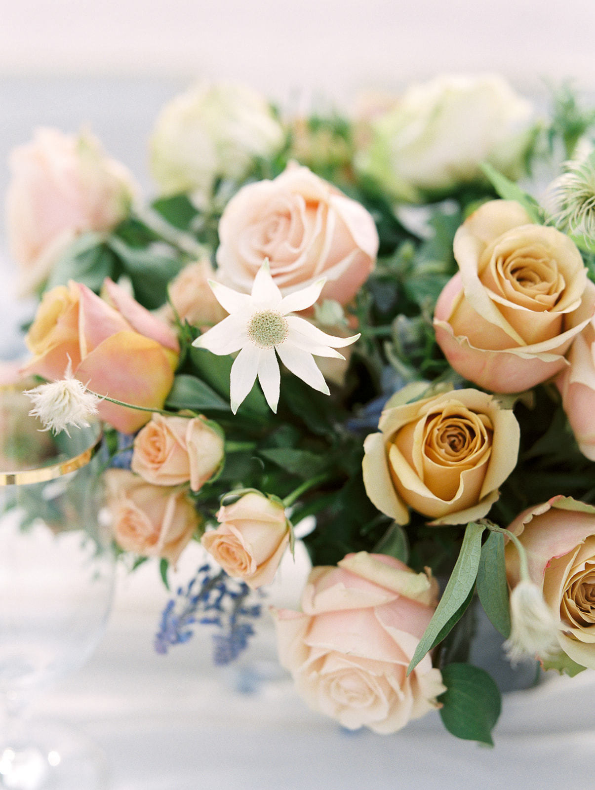 Fine art centerpiece with lush roses