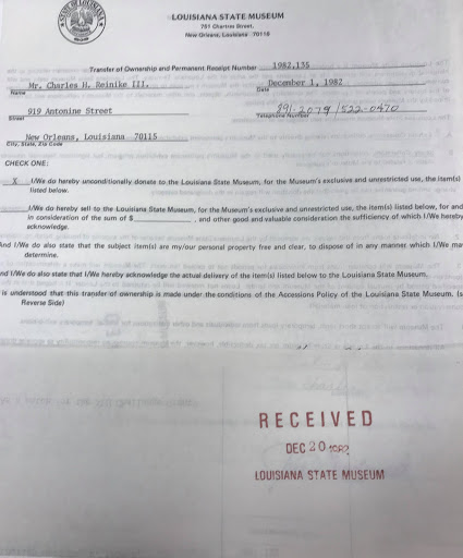 Transfer of Ownership from Charles H. Reinike to the State of Louisiana, December 20th 1982